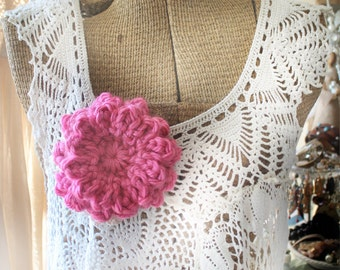 Double Layer 12 Petal Crochet Flower Brooch, Chunky Crochet Flower, Shawl Pin, Crochet Flower, Hot Pink, Pink Flower
