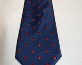 Navy blue with red polka dot rhinestone necktie