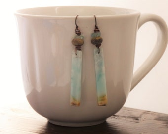Where the dreams live earrings - Dangle, Bohemian,Natural, Artisan, landscape, blue, sky