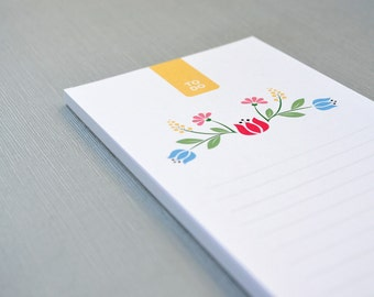To Do List Notepad / Planner - Little Tulip - inspired by Hungarian Folk Art - DL size