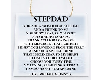 Personalised Square Wooden  Plaque. Stepdad Poem Gift.