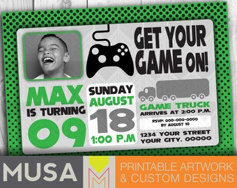 Gaming / Game Truck Party / Personalized Digital Invitation with photo