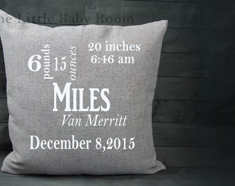 Personalized Baby Pillow,Pillow Cover Birth Announcement,Custom Baby Pillow, 18x18 Square Pillow,Gray,Navy,Pink,White,Girl Gift,Boy Gift