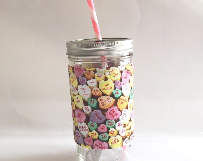 Conversation Hearts Valentines Day Insulated Mason Jar Tumbler and Cozy w BPA Free Straw - Travel Mug Great Gift