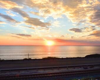 Ocean Sunset Photography-Clouds, Sky, Colorful, Coastal, Pastel, Train Tracks, California
