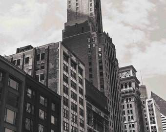 Downtown Chicago Illinois, Chicago Architecture, Black and White Photography Fine Art Print