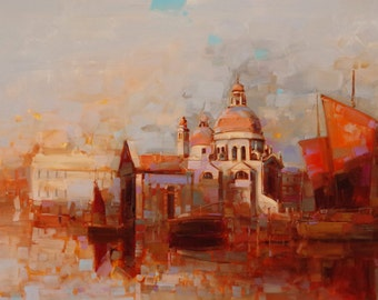 Venice in Gold  Large Original Handmade oil Painting on Canvas  One of a Kind Impressionism Signed with Certificate of Authenticity