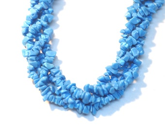 "2 Strands Turquoise Chips 36""Long"