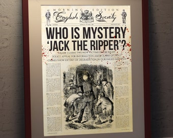 Jack The Ripper Retro Newspaper Style A3 poster print