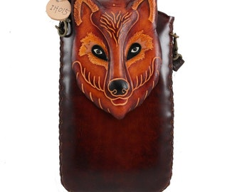 XXL Leather wolf Cell Phone Case with cross body strap