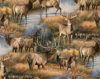 Deer and Elk in the Autumn Fabric By David Textiles