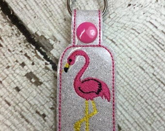 Flamingo  - Snap/Rivet Key Fob - DIGITAL Embroidery Design