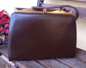 Brown 60's Handbag, 60' Purse, Vegan Leather Handbag, Brown Purse 60's , Mid Century Modern Purse, MCM Handbag, 60's Top Handle Bag