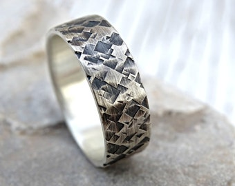unique mens wedding ring silver square structured mens ring silver mens wedding band unique cool mens promise ring patterned ring silver - Cool Mens Wedding Rings