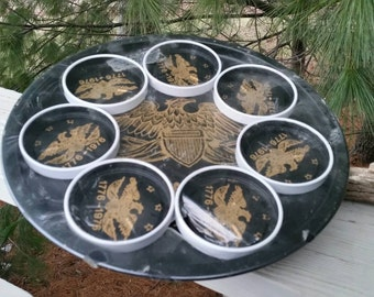 Bicentennial Eagle Metal Serving Tray Coasters Black & Gold Federal Style