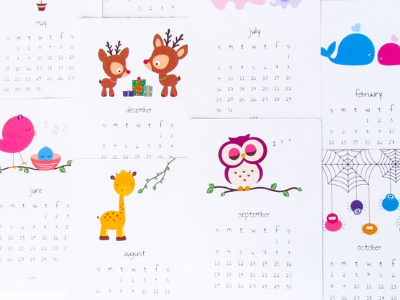 Kids Desk Calendar : Printable desk calendar diy animal cute