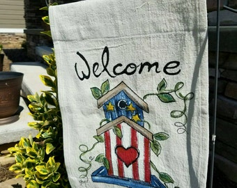 Garden Flag, Birdhouse, Red, White, and Blue, July 4th, Patrotic Decorations, Yard Art, Garden, Patio, Housewares, Hand-painted, No. 202