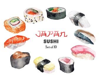 Sushi Sashimi Clipart Watercolor Japan Asian Food Kawaii Restaurant Digital Download Invitation Paint Planner