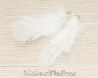 F003-WHITE // White Colored Fluffy Feather Pendant, 2 Pc