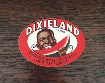 Vintage New Old Stock Dixieland Advertising Unused Label Black Americana Watermelon