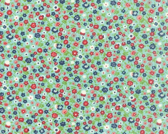 1/2 Yard - Vintage Picnic-Bonnie and Camille - Aqua - Moda - Fabric Yardage - 55126-12