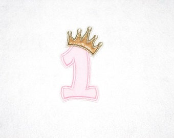 Princess Birthday Number 1 Iron on No Sew DIY Embroidered Patch Applique