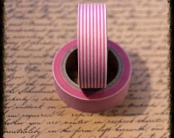 Pink Stripe - Japanese Washi  - Paper - Masking - Tape - 5 Metres