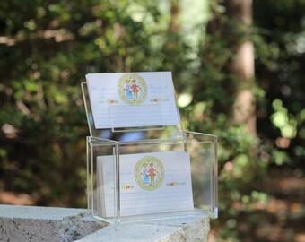 Vintage Lucite Recipe Box and Colorful Recipe Cards / Lucite Kitchen / Lucite Recipe File / Modern Recipe Card Box / Acrylic Recipe Box