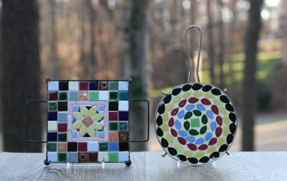 Pair Of Mid Century Mosaic Tile Trivets By Theretrobeehive