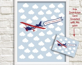 Airplane Baby Shower Keepsake Alternative Guestbook, Airplane Guest Signature Print, Airplane Sign-in Print, Approx. 46 signatures