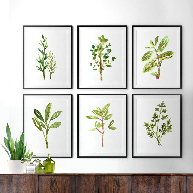 Herb Kitchen Art Watercolor Painting Botanical Print Set Of