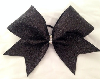 "Cheer bow- Black ""super glitter"""