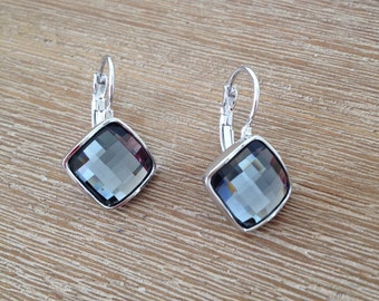 18k gold plated silver grey crystal dangle charm earrings with silver finishing