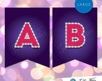 Large Pink & Purple Marquee Banner  :  Printable Banner All Letters 0-9 numbers