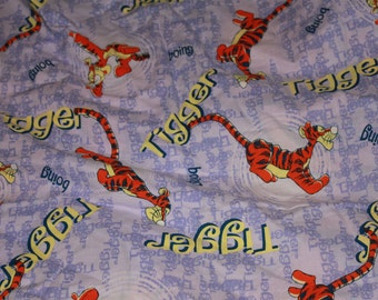 Tigger Bouncy Bouncy  Cot Bed Single Duvet Cover Vintage Material for Upcycling