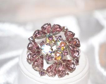 Vintage Brooch Deep Pink Teardrop Rhinestone with Aurora Borealis