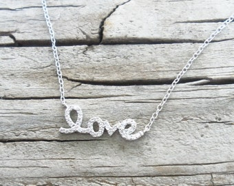 Delicate Sterling Silver Pave Love Necklace