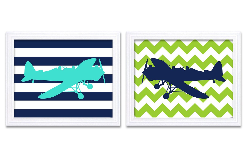 Turquoise Navy Blue Lime Green Airplane Nursery Art Set of 2 Prints Stripes Chevron Baby Boy Wall De