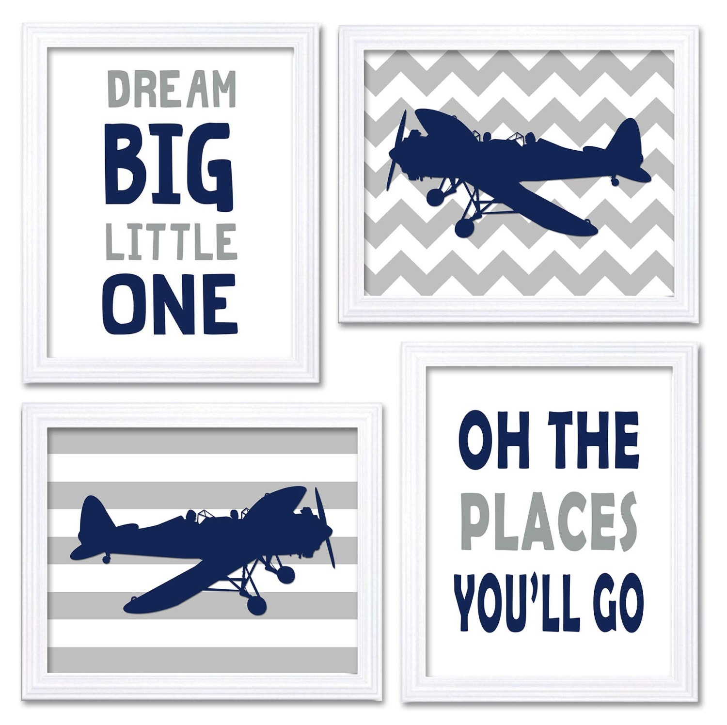 Airplane Nursery Art Navy Grey Nursery Print Set of 4 Transportation Dream Big Little One Oh The Pla