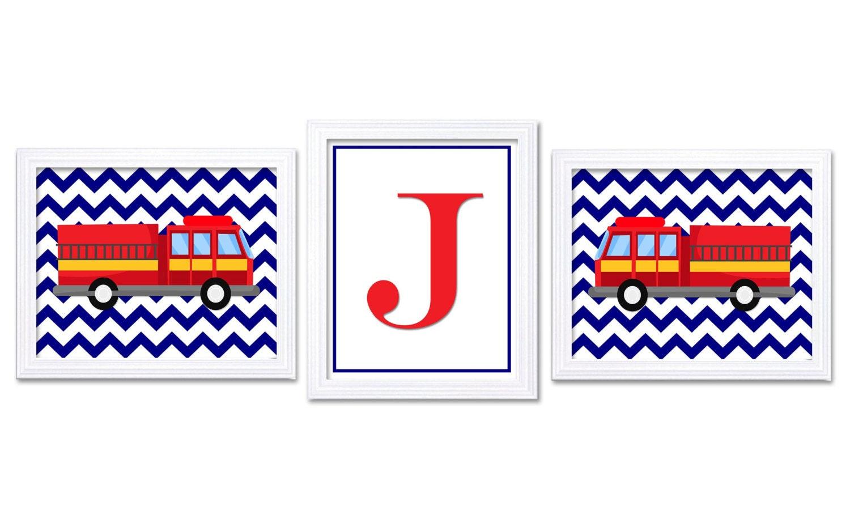 Fire Truck Nursery Art Set of 3 Prints Navy Blue Red Black Yellow Grey Letter Monograhm Child Kid Bo