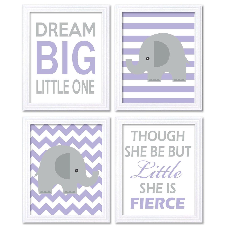 Purple Grey Elephant Nursery Art Prints Set of 4 Dream Big Little One Though She be but Little She i