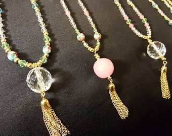 20's style flapper crystal beaded necklaces
