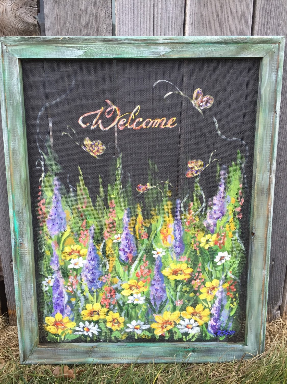 Painting On Glass Windows : Welcome wild flowershand painted window screen