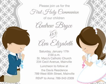 il_340x270.943638764_owoo twins communion etsy,First Communion Invitations For Boy Girl Twins