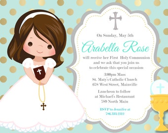 First Communion Invitation, Girl, Mint, Gold, Any Hair Color - Printable or Printed