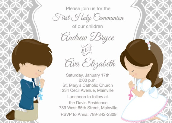 First Holy Communion Invitation for Siblings Twins Cousins