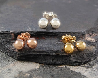 Rose Gold Studs, Silver Ball Earrings, Sterling Silver, Classic Jewellery, Gold Ball Studs, Stud Earrings, Round Studs, Earrings, 925 Silver