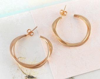 Interwoven Rose Gold Hoop Earrings