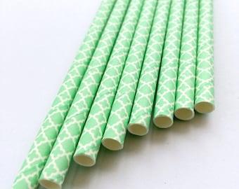 Mint Lace Paper Straws
