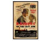Indiana Jones Raiders of the Lost Ark Retro Alternative Movie Poster Print // 1930s 1940s Romance Adventure Movie Inspired Pop Art